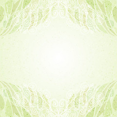 Vintage abstract green floral card horizontal