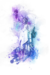 Watercolor paint effect of the Statue of Liberty
