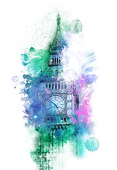 Wall Mural - Colorful fine art view of Big Ben, London