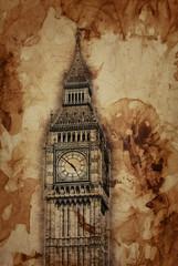 Wall Mural - Aged vintage sepia toned Big Ben, London