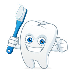 Tooth cartoon mascot brushing teeth