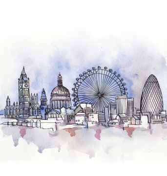 the  panoramic view of London watercolor of european union country isolated on the white background