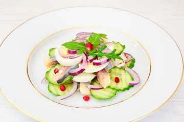 Dietary Food: Salad with Herring, Cucumber, Egg and Onion