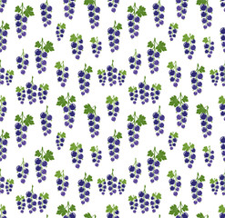 Currant pattern. Vector seamless background with fruit icons.