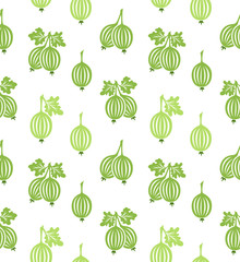 Gooseberry pattern. Vector seamless background with fruit icons.