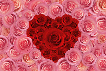 pink roses flower background, happy valentine day