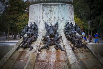 fantasy, devil figure, bronze sculpture with demonic gargoyles a