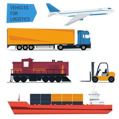Vector icons set freight transportation logistics