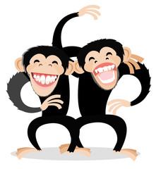 a couple of monkeys joking around