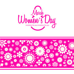 March 8 greeting card. Background for Womans Day