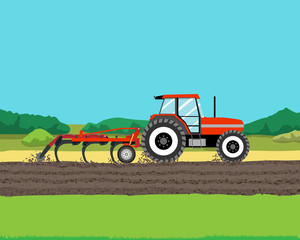 Tractor plowing a field for planting crops. Agriculture. Vector illustration