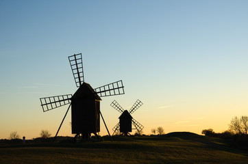 Old windmills in late evening sun