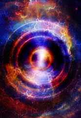 Audio music Speaker with color effect. Cosmic space and stars, cosmic abstract background. space music, music concept.