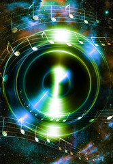 Audio music Speaker and fractal effect with note. Cosmic space and stars, blue cosmic abstract background.