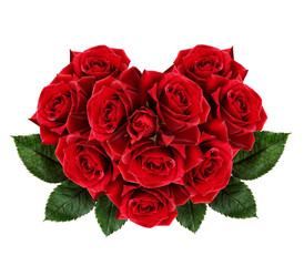 Red rose flowers heart