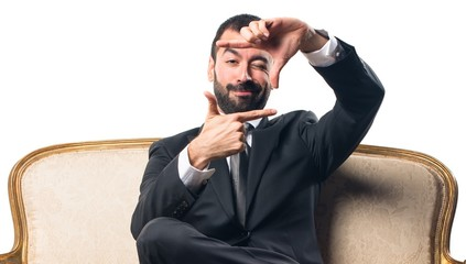 Businessman focusing with his fingers