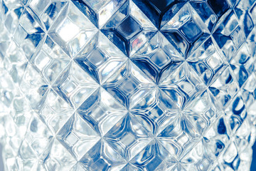 Glass wall texture, abstract blue background.