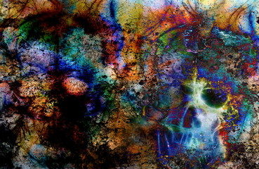 Color Skull collage. Color abstract background, computer collage.