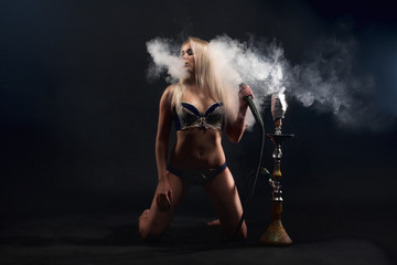 Girl with a hookah.
