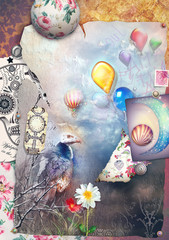 Canvas Prints Imagination Graffiti and collage with gypsi and colorful balloons.