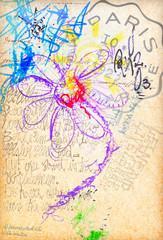 Graffiti with colored daisy