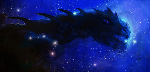 Cosmic dragon in space and stars, blue cosmic abstract background