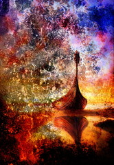 Viking Boat on the beach, painting on canvas, Boat with wood dragon. And structure background, red, orange, yellow, black, violet and blue color.