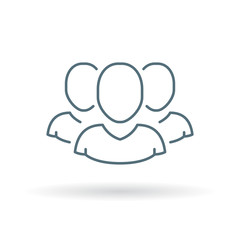 Team icon. Group sign. Teamwork symbol. Thin line icon on white background. Vector illustration.