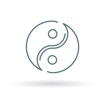 Asian Yin Yang icon. Yinyang sign. Yin Yang symbol. Thin line icon on white background. Vector illustration.