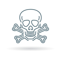 Beware danger skull icon. Warning skull sign. Skeleton symbol. Thin line icon on white background. Vector illustration.