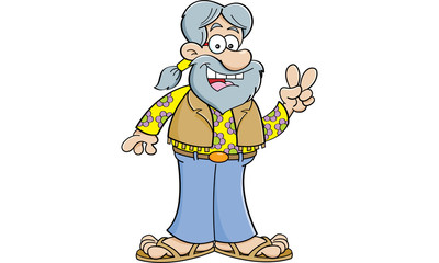 Cartoon illustration of a old hippie giving the peace sign.