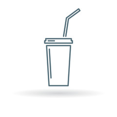 Softdrink icon. Cooldrink sign. Soda symbol. Thin line icon on white background. Vector illustration.