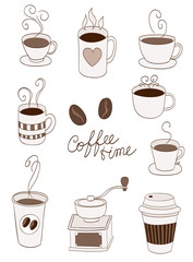 coffee items, cups, cup to go, beans doodle. vector
