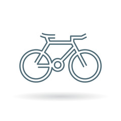 Bicycle icon. mountain bike sign. Cycle symbol. Thin line icon on white background. Vector illustration.