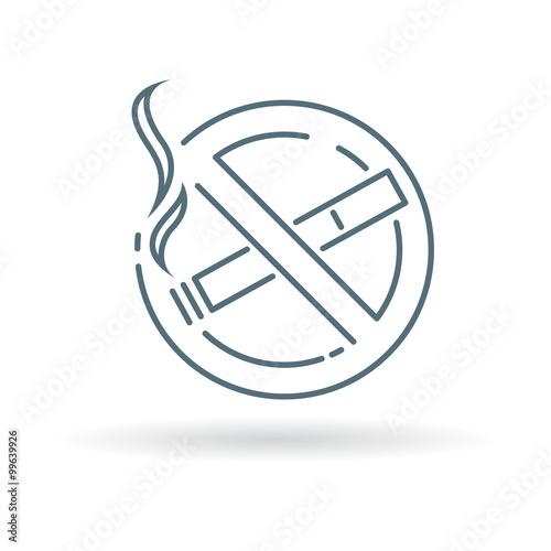 No Smoking Zone Icon No Smoking Area Sign No Smoking Symbol Thin