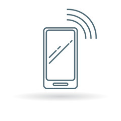 Wireless smartphone icon. Wifi mobile phone sign. Network cellphone symbol. Thin line icon on white background. Vector illustration.