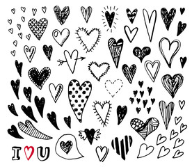 Hand drawn black and white doodle hearts. Valentines day card.
