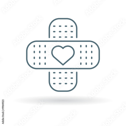 Band Aid Plaster Icon With Heart Bandage Plaster Love Sign Band