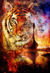 Viking Boat on the beach, and tiger head, collage painting on canvas, Boat with wood dragon.  structure background, red, orange, yellow, black, violet and blue color.