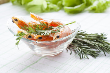Tiger Prawn Shrimps with rosemary. Prawn Shrimps with rosemary in glass plate.