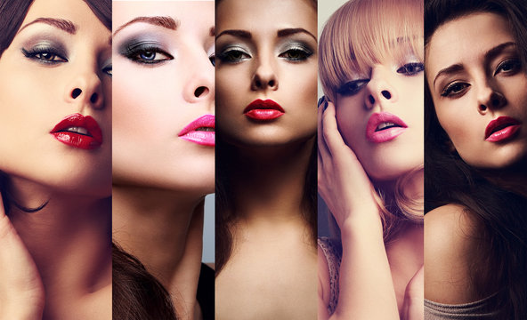 Beautiful collage of sexy bright makeup emotional women with hot