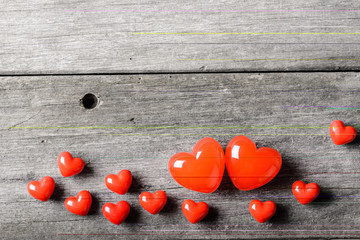 red heart on the wooden board