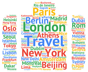 Global travel cities names destinations word cloud