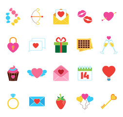 Valentine`s Icons Set. Love Stickers Objects. Vector Illustratio