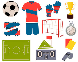 Icon set football. Soccer ball, uniform and shoes. Vector illustration