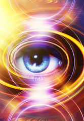 Woman Eye and yellow light circle, abstract color background, eye contact.