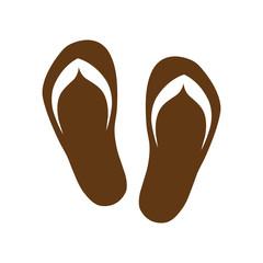Pair of flip flops. brown icon