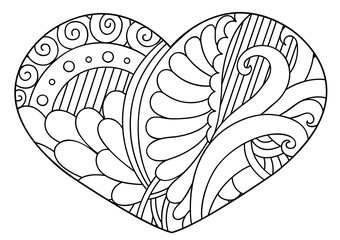 Zentangle  black and white decorative heart. Vector illustration.