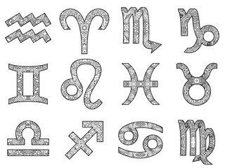 Set of decorative black and white zodiac signs.