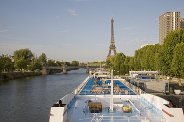 Cruise boat on River Seine, Paris, France, Europe